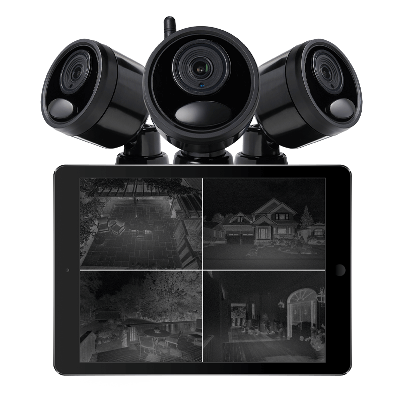 1080p Outdoor Wireless Camera System, 6 Rechargeable Wire Free Battery  Powered Black Cameras, 95ft Night Vision, 1TB Hard drive, No Monthly Fees