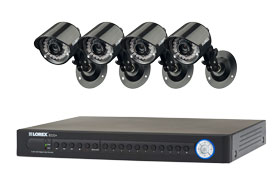 Surveillance system with 4 security cameras and 16 channel DVR