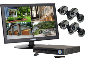 Home security camera system with 4 outside security cameras and monitor