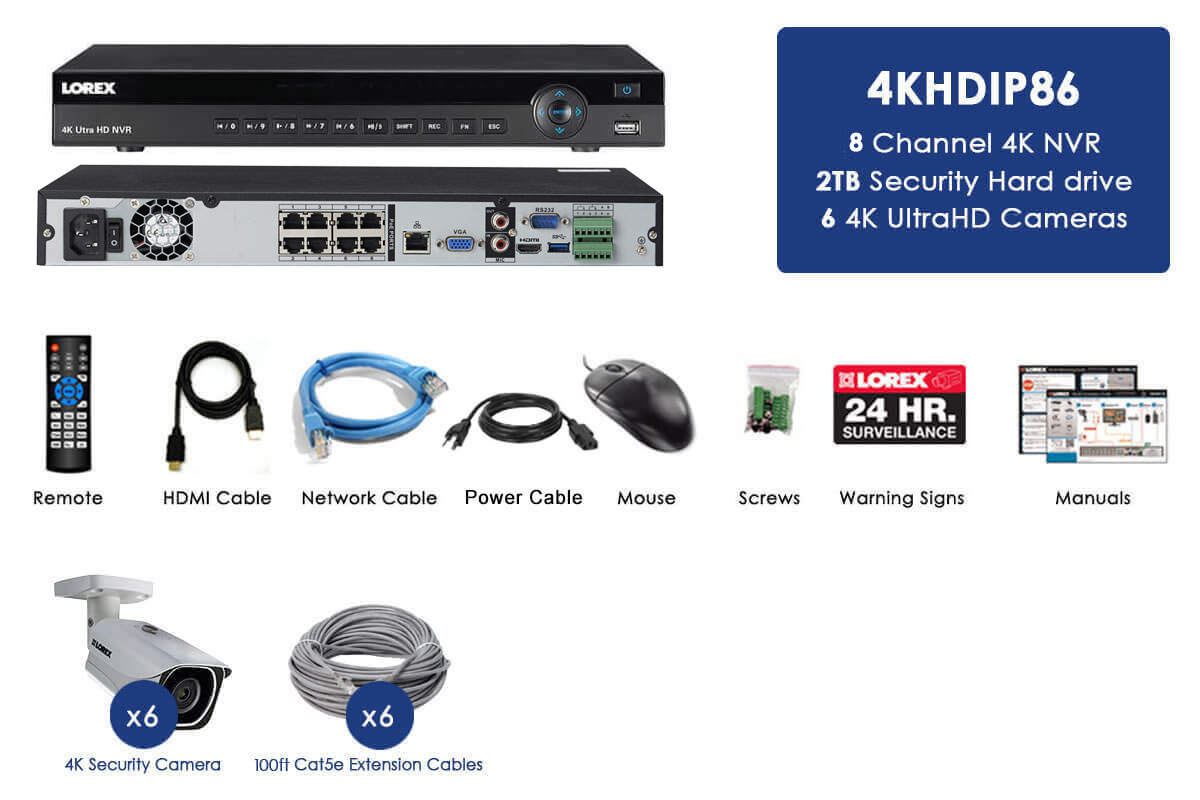 4K Ultra HD IP 8 Channel NVR System with 6 Outdoor 4K 8MP IP Cameras, 130FT  Night Vision, 2TB Hard Drive