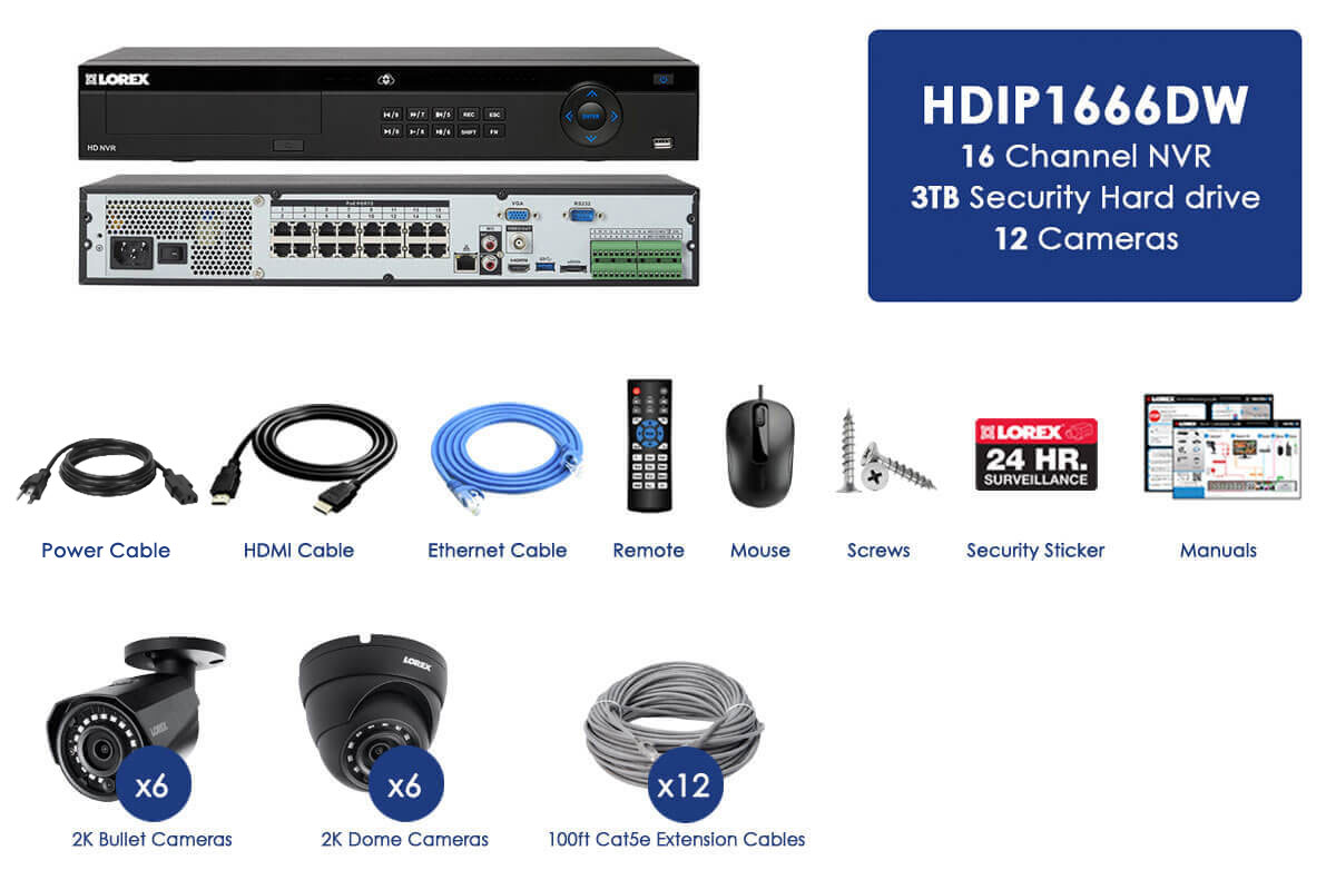 16 channel IP security system featuring twelve 2K resolution security cameras with Color Night Vision