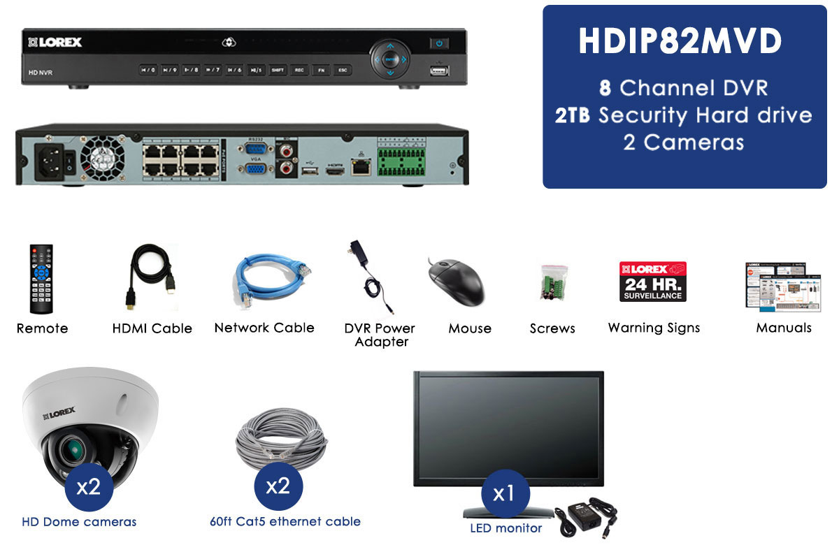 2K Resolution IP Camera System with Monitor and 2 Domes