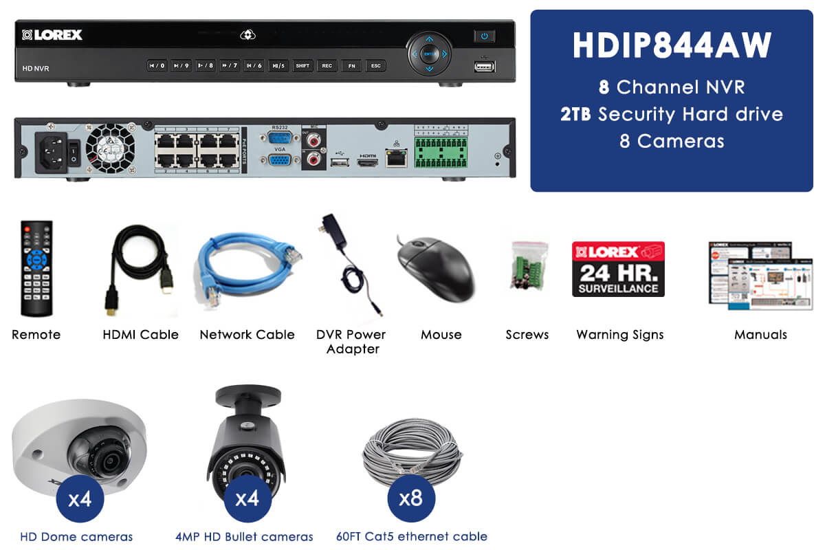 2K home security system featuring Color Night Vision and audio