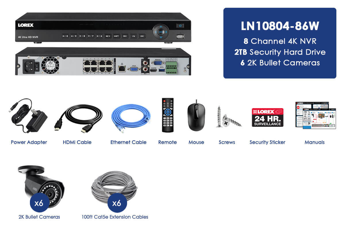 2K IP Security Camera System with 8 Channel NVR and 6