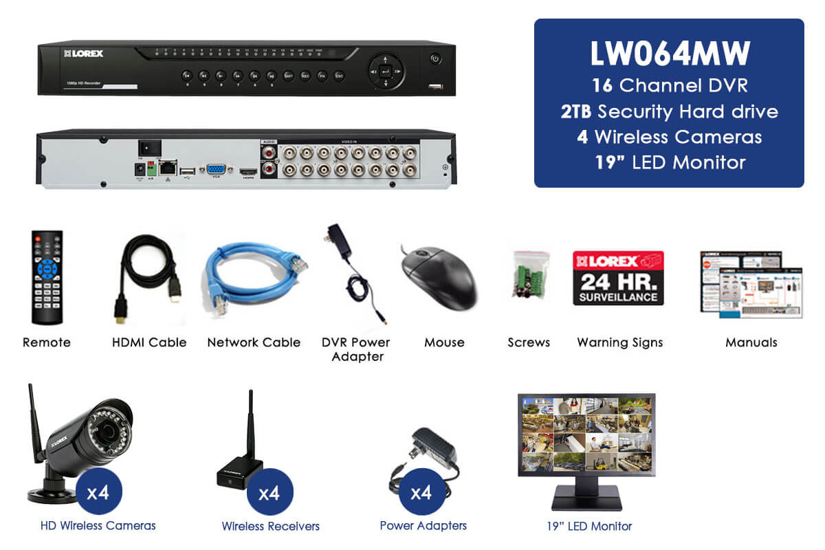 Wireless security system with 4 wireless night vision cameras & 19