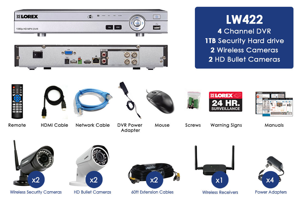 4 Camera Surveillance System With Hd 1080p Wired And 720p Verizon Fios Phone Wiring Wireless Cameras