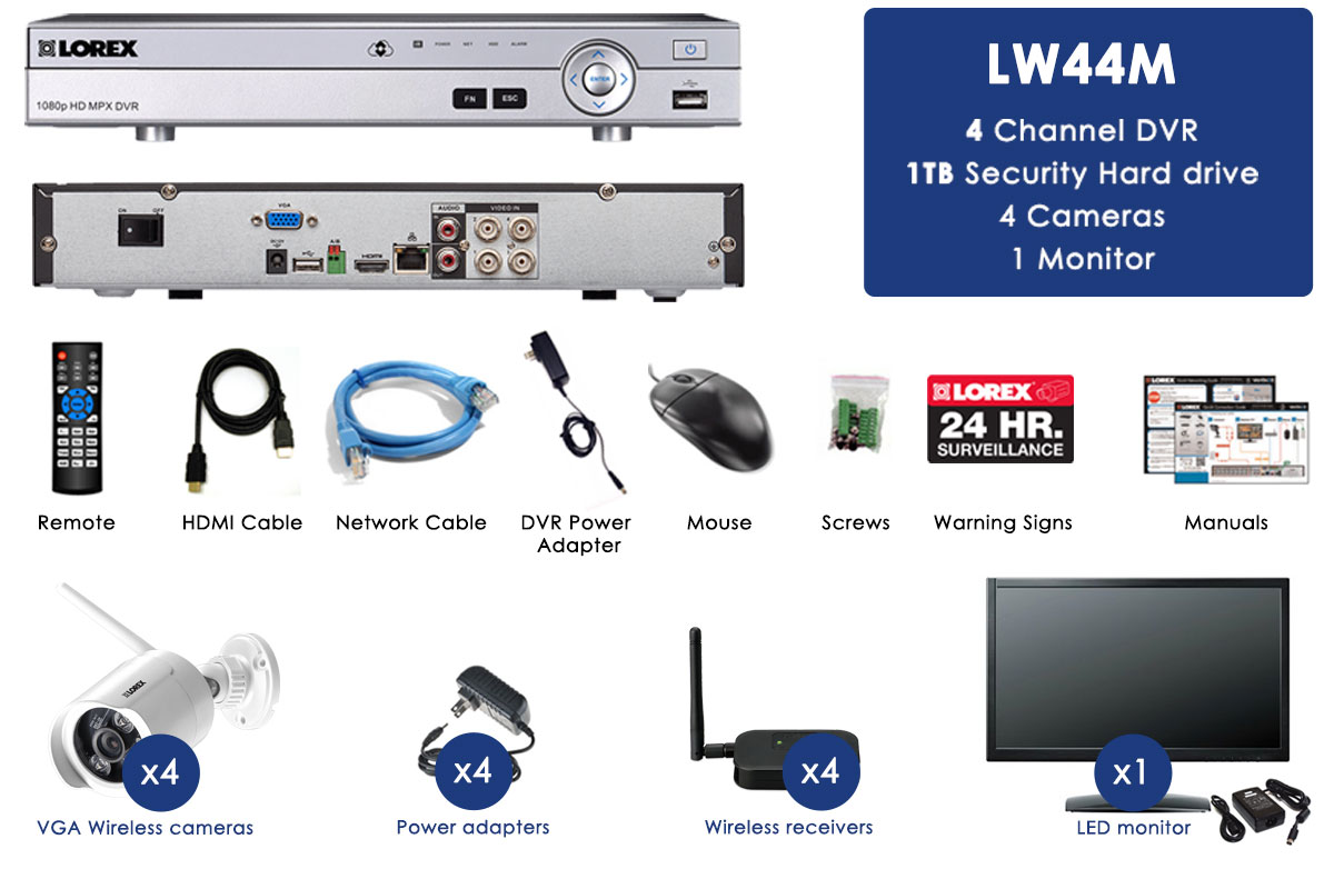 Wireless Security Camera System with Monitor and 4 Outdoor Cameras ...