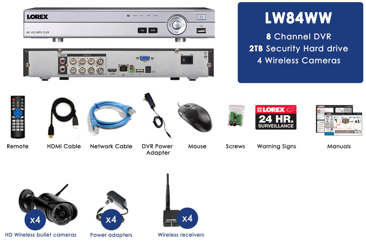 DVR Security System with 4 Wireless Cameras
