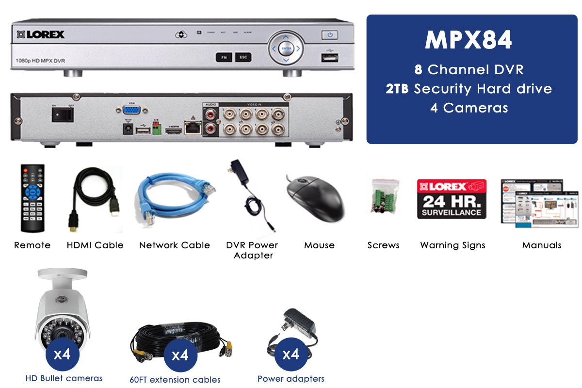 HD 1080p 8 channel 4 Camera Security System