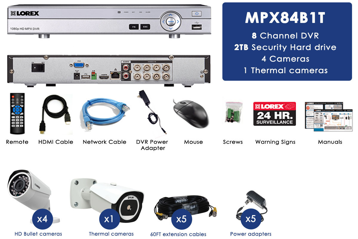 8 Channel HD Security System with Thermal Camera and 4 HD 1080p Cameras