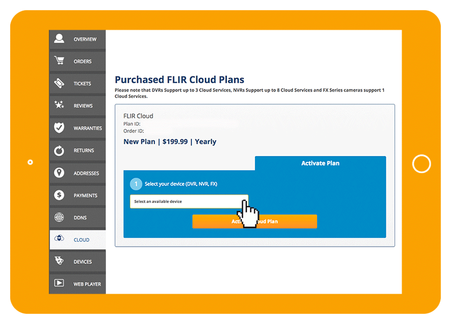 Purcahse a FLIR Cloud subscription plan