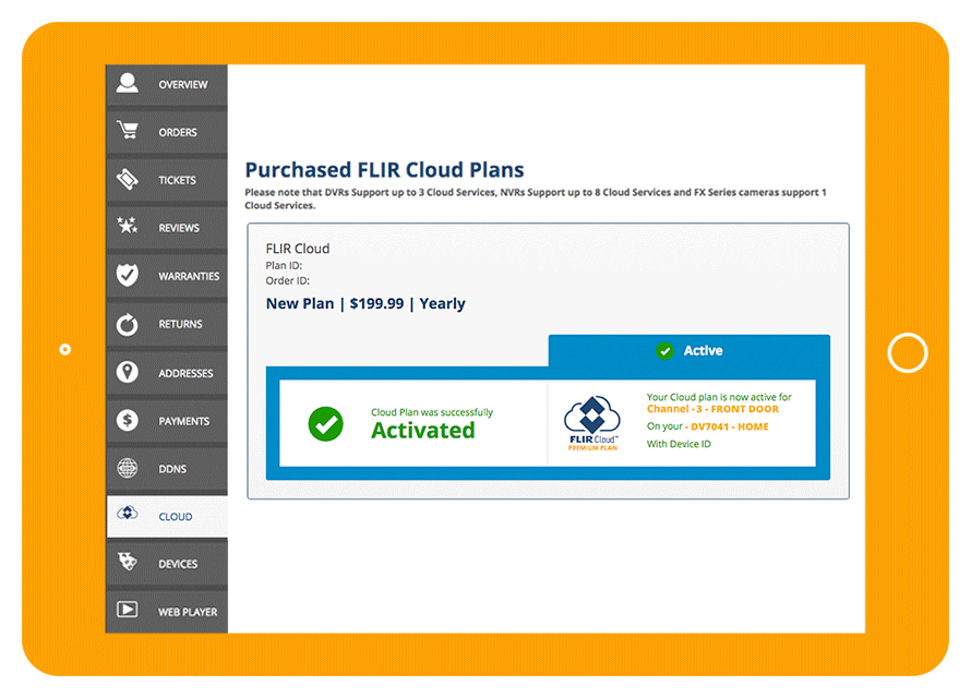 FLIR Cloud plan set-up and activation