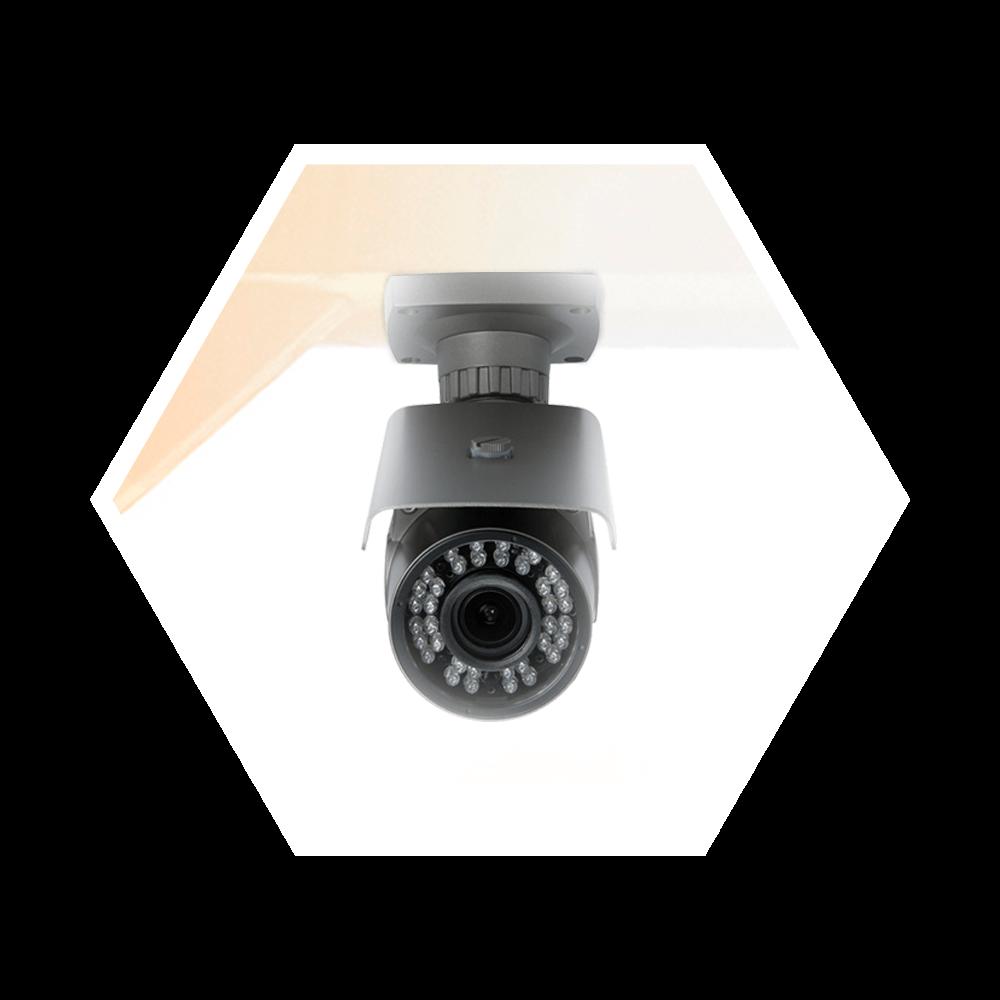 Aponte as câmeras de monitoramento longe do sol ou fontes de luz direta