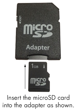 Insert the microSD card into the included SD card adapter