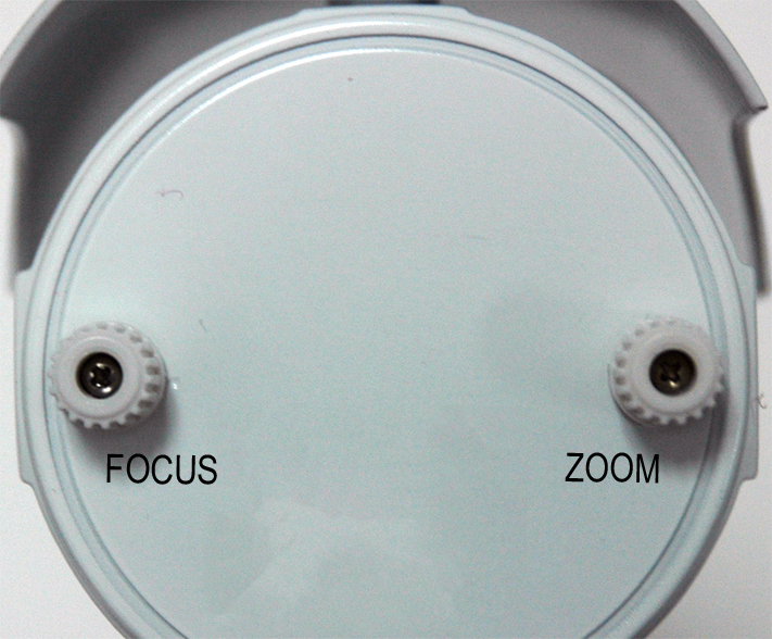 Zoom and focus knobs on Lorex varifocal bullet camera