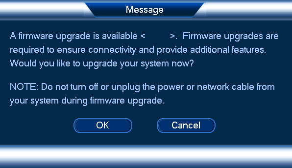 Firmware upgrade message on DVR