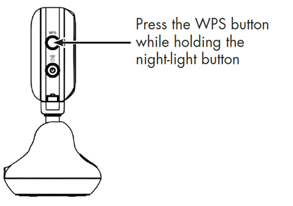 Press the WPS button while holding the night-light button