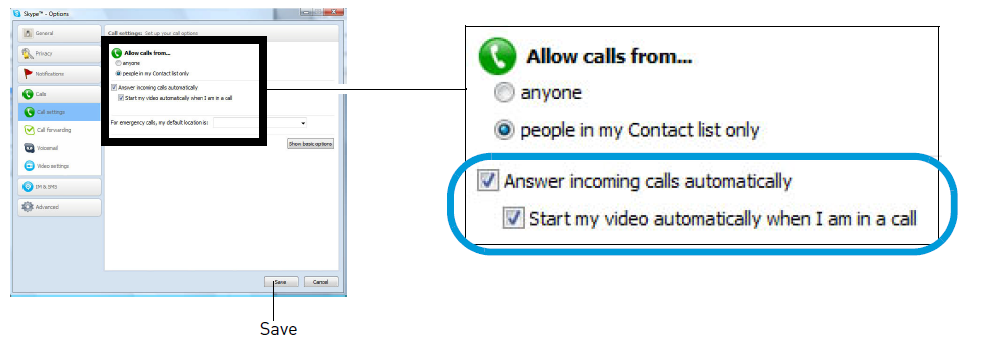 Check answer incoming calls automatically and Start my video automatically when I am in a call