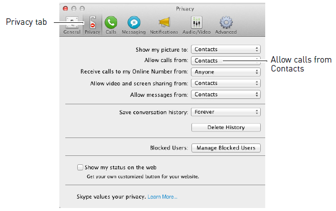 Allow calls from contacts