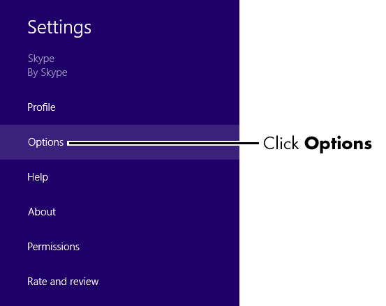 Click Options on the settings panel