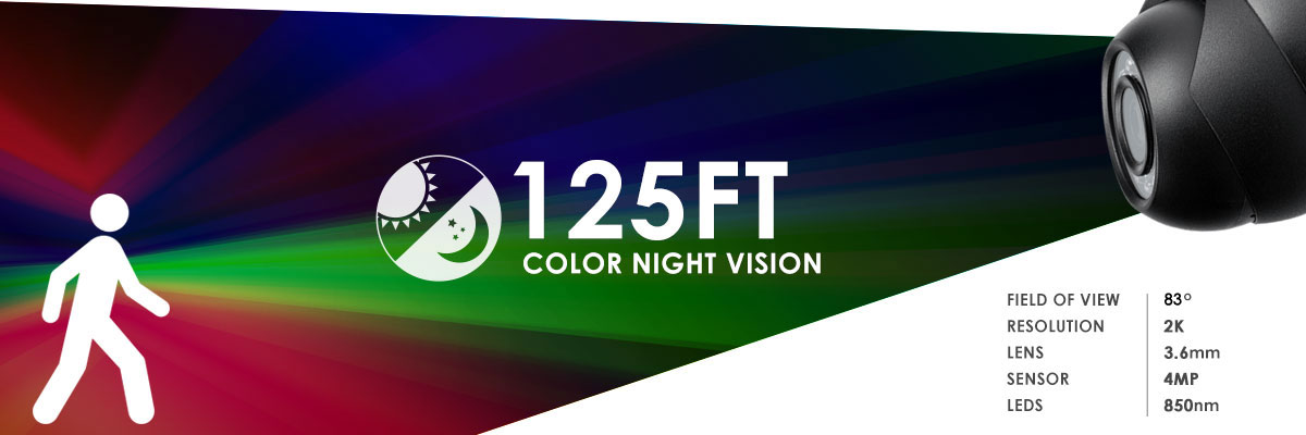 Color night vision up to 130 feet