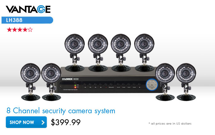DVR security camera system with 8 cameras