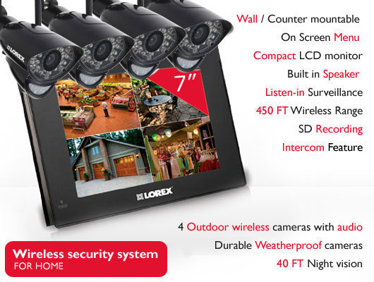 wireless home security camera system with night vision recording motion detection and 2-way audio