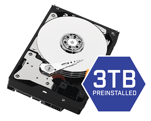 3TB security-grade hard drive pre-installed