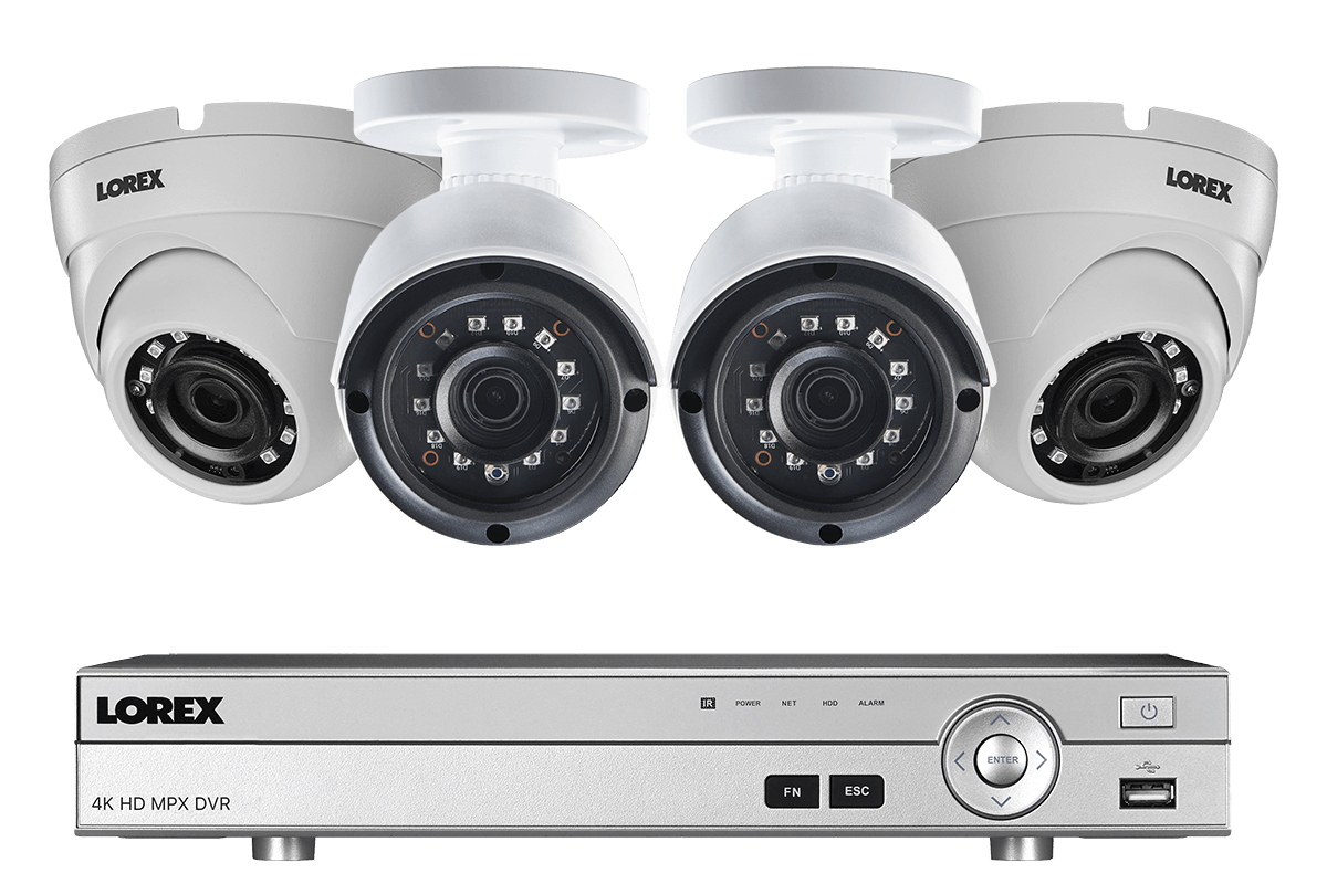 Lorex 4 Channel 2K HD Security Camera System with 4 2K Metal Outdoor Cameras, 150FT Night Vision