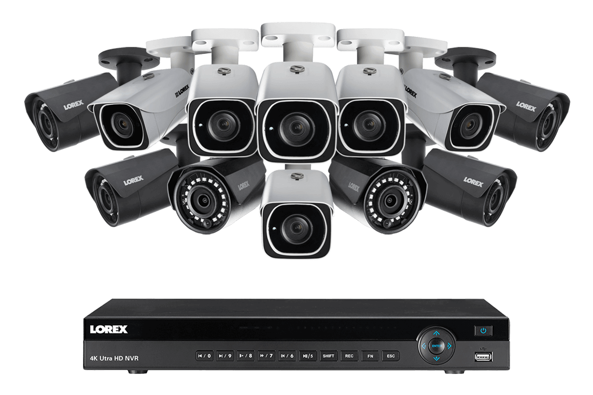 4K Ultra HD IP NVR system with 6 Outdoor 4K 8MP IP cameras and 6 IP 2K 4MP cameras 130FT night vision