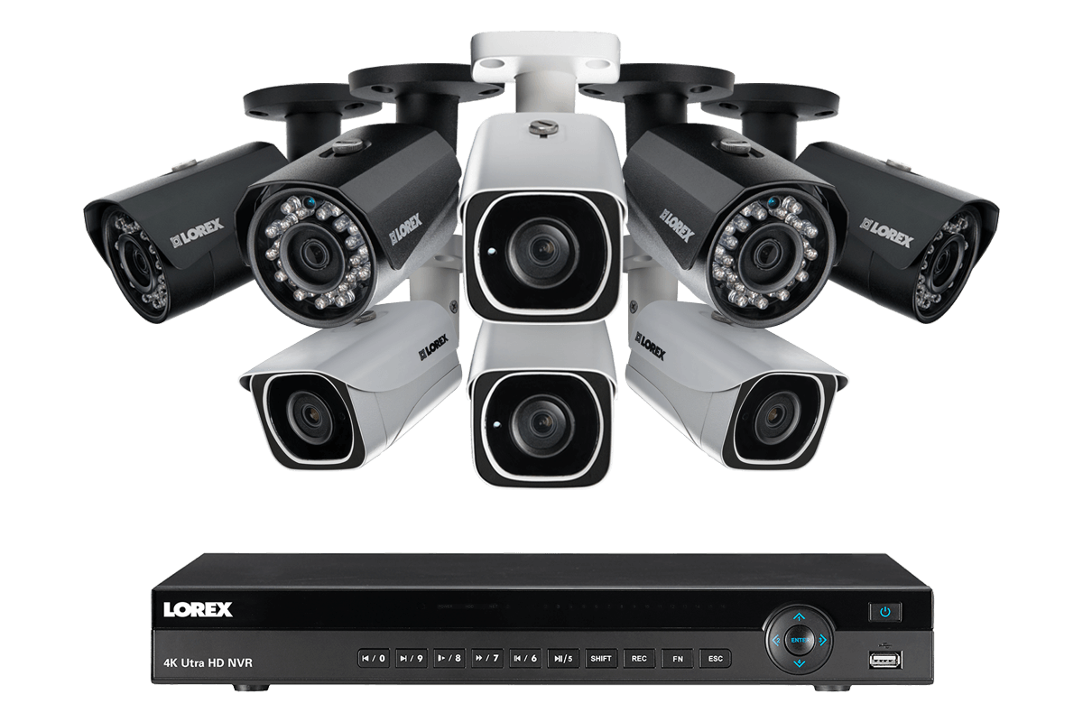 4K Ultra HD IP NVR system with 4 Outdoor 4K 8MP IP cameras and 4 IP 2K 4MP cameras 130FT night vision