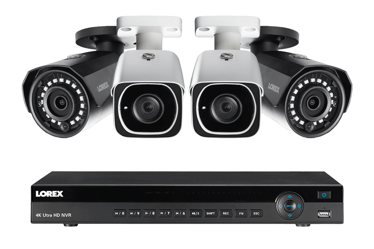 4K Ultra HD IP NVR system with 2 Outdoor 4K 8MP IP cameras and 2 IP 2K 4MP cameras 130FT night vision