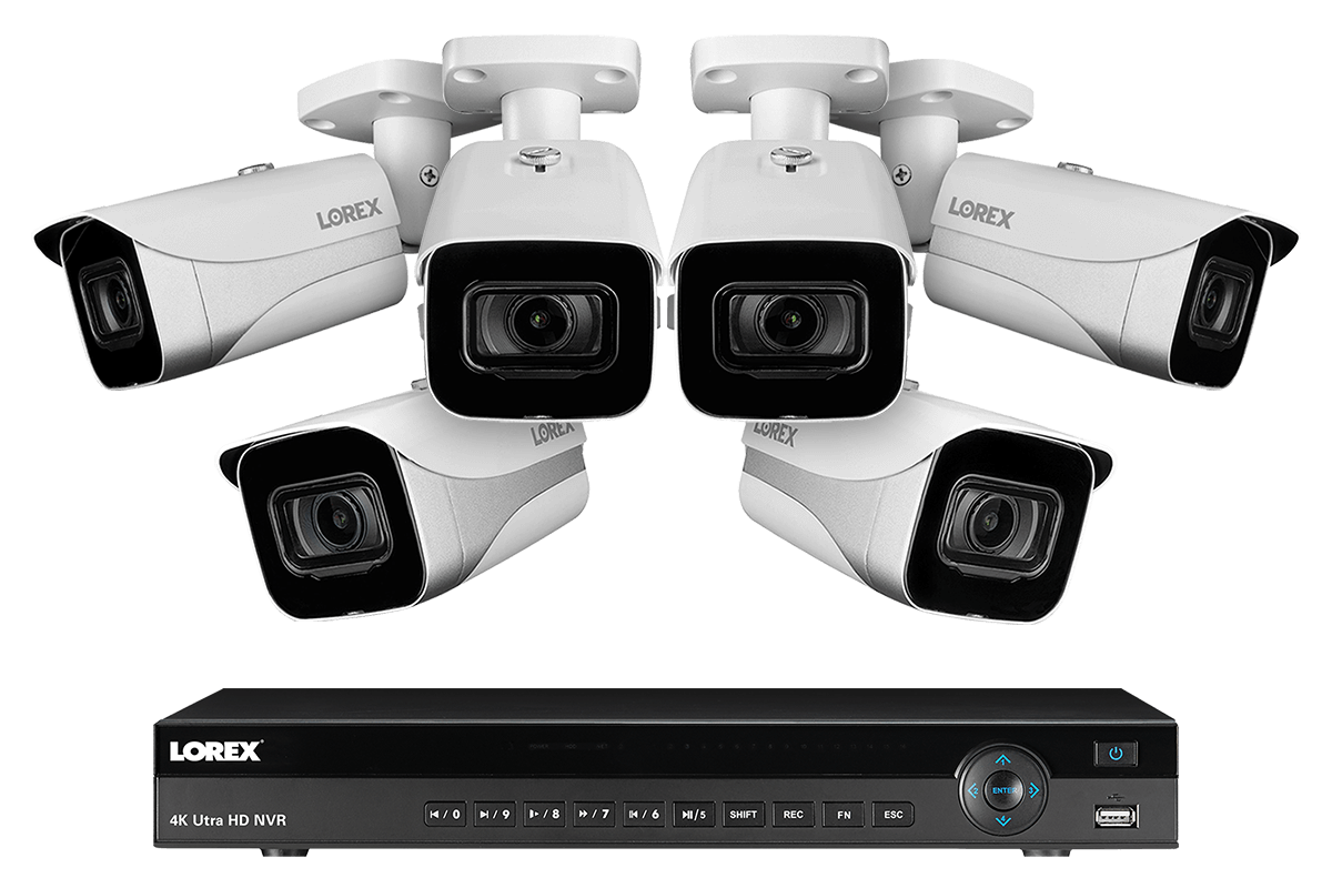 4K Ultra HD IP NVR System with 6 Outdoor 4K 8MP IP Cameras 130FT Night Vision