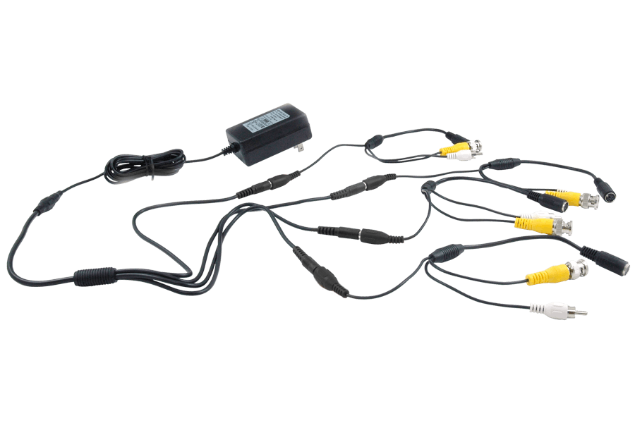 Power adapter accessory pack with 4 6 PIN DIN to BNC security adapter