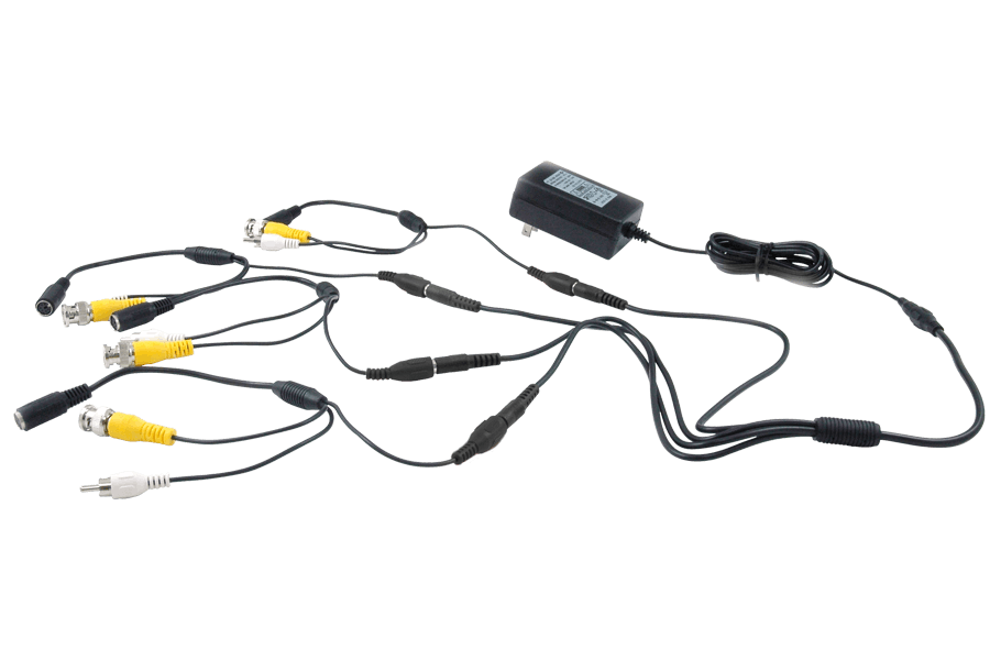 Power adapter accessory pack with 4 6-PIN DIN to BNC security adapter