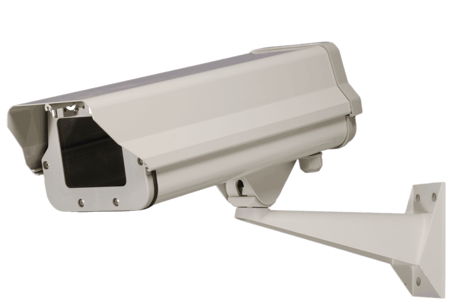 Weatherproof security camera enclosure with heater and blower