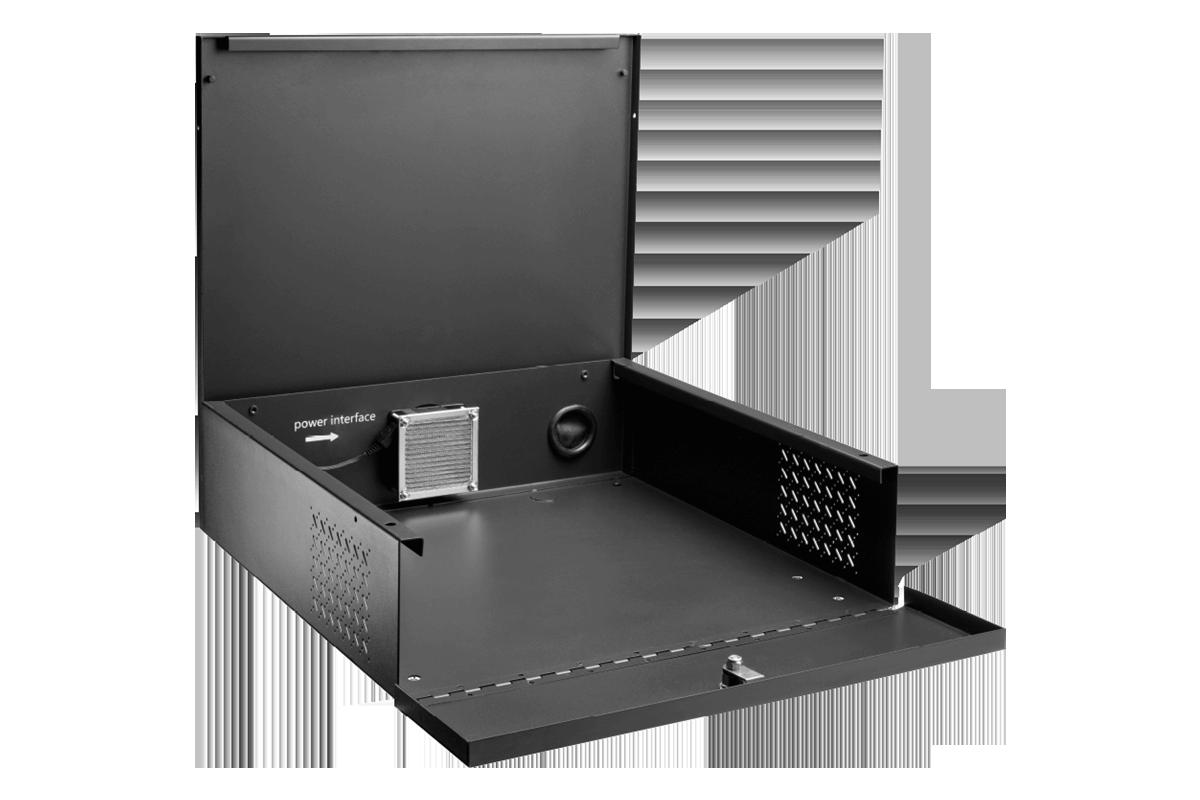 ACCLBOX1B recorder lockbox with key, fan, removable top
