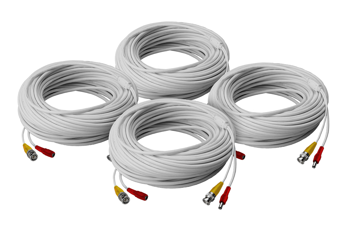 4 pack of 250ft high performance BNC Video Power Cables for Lorex security camera systems