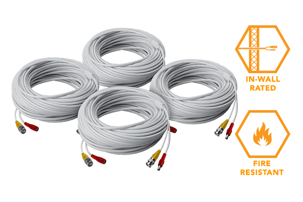 4 × 120FT high performance BNC video/power cables for Lorex security camera systems
