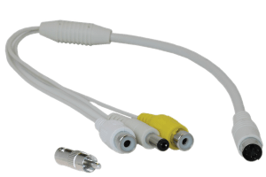 RCA or BNC and power to 6-PIN-DIN converter cable