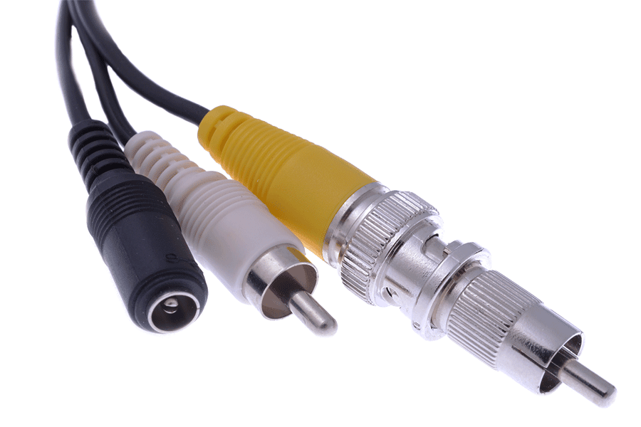 6-PIN-DIN female to RCA or BNC/power converter cable