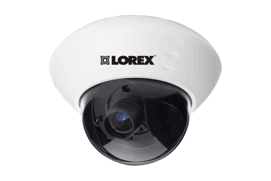 Varifocal dome security camera with low-light viewing