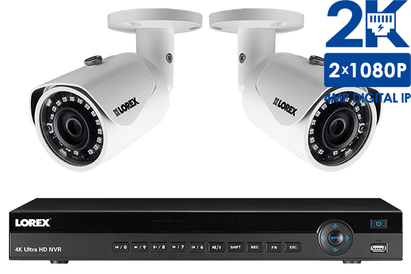 8 Channel 2K Resolution (4 Megapixel) IP Camera System with 2 Color Night  Vision Security Cameras