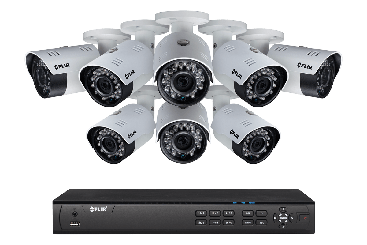 2K HD IP NVR system with 8 Outdoor 4MP IP cameras with 90FT color night vision