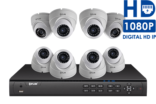 High Definition IP security camera system with 8 channel NVR
