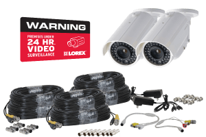 Video surveillance system installer`s kit - cables, connectors, power supplies for security cameras