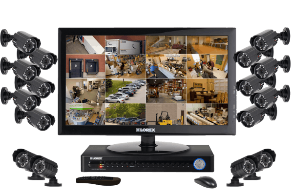 Security camera system with 16 outdoor security cameras and monitor