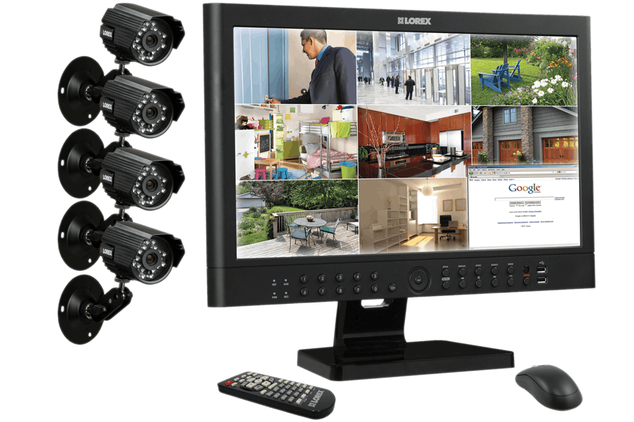 Security and surveillance camera system with 23 inch monitor