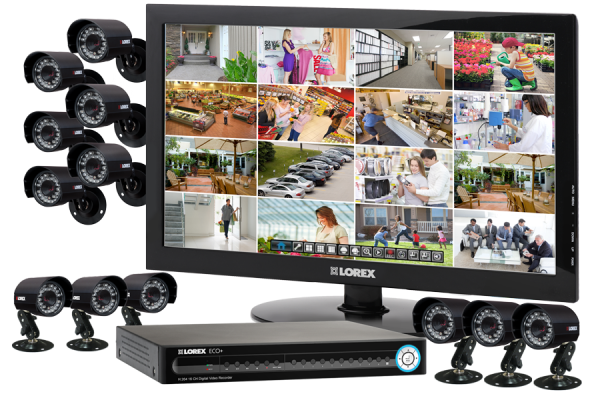 Surveillance camera security system with 12 night security cameras