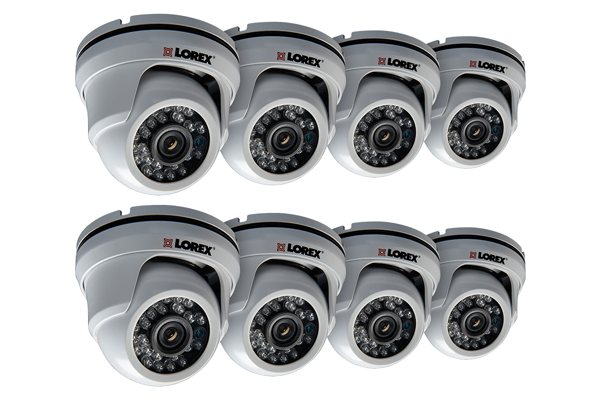 900TVL Night Vision Weatherproof Dome Security Cameras 8 Pack
